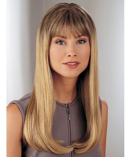 Womens straight mid-length hair wigs with bangs