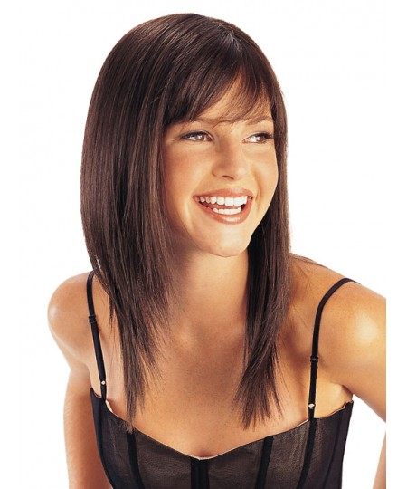 Womens straight mid-length natural hair wigs