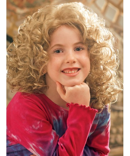Kid curly mid-length natural hair wigs