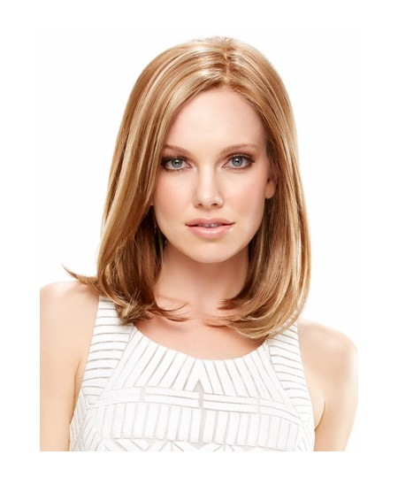 Best style medium long straight blond bob synthetic wigs