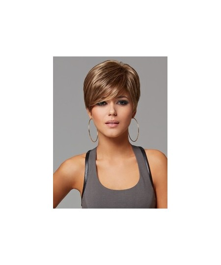 Short straight sexy womens brown wigs