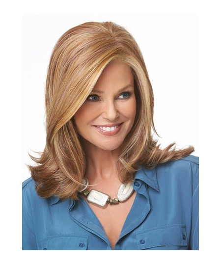 Mid-length curly womens layered wig