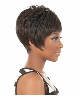 Short straight pixes black womens wig