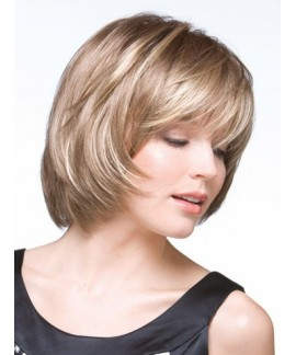 Short straight bobs womens natural wig with bangs