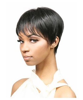 African american short straight pixie & boycuts black cheap wigs