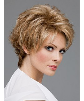Short curly blonde womens natural wig