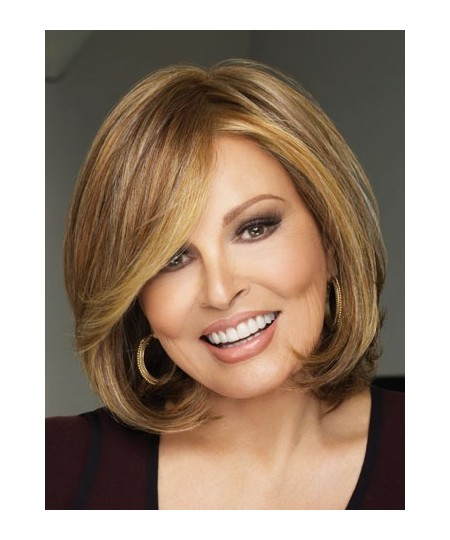Mid-length curly womens bob layered wig