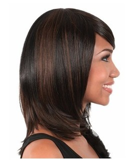 African american mid-length straight black women wigs