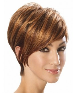 Womens short straight brown cheap natural hair wigs