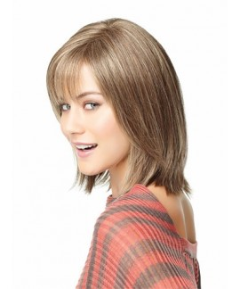 Mid-length straight womens layered wig with bangs