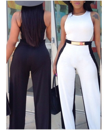 O-Neck Sleeveless White Black Jumpsuit with Belt